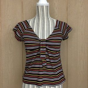 NWT Poof New York Striped Cap Sleeves Top. Size L